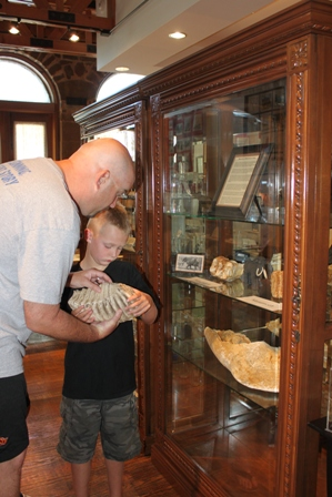 Man and boy looking at display piece in museum